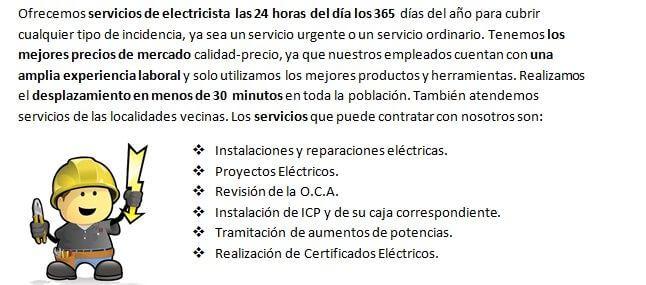 Equipo de Electricista en Olías del Rey 24h